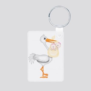 STORK WITH TWIN GIRLS Aluminum Photo Keychain
