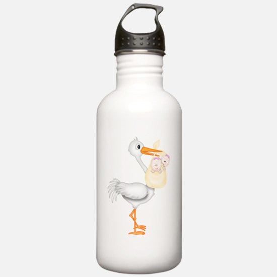 STORK WITH TWIN GIRLS Water Bottle