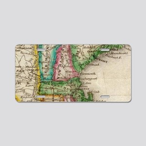 Vintage Map of New England Aluminum License Plate