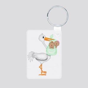 STORK WITH AFRO AMERICAN T Aluminum Photo Keychain