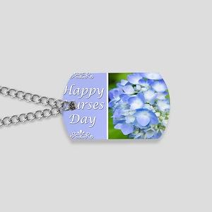 Happy Nurses Day With Blue Hydrangeas Dog Tags