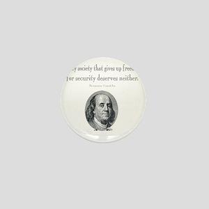 Benjamin Franklin Freedom for Security Mini Button