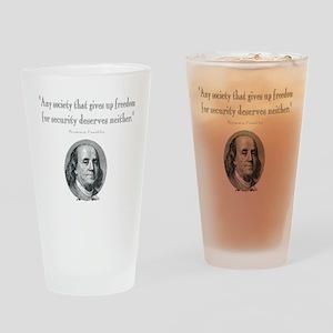 Benjamin Franklin Freedom for Secur Drinking Glass