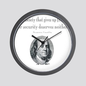 Benjamin Franklin Freedom for Security  Wall Clock