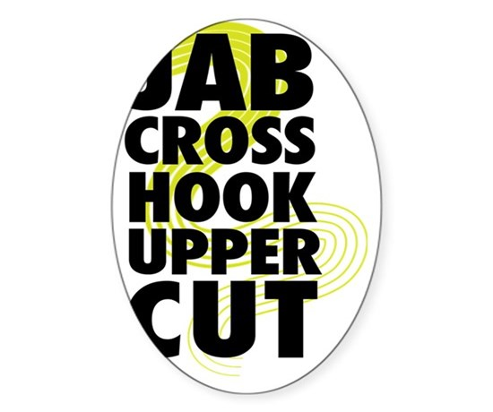 Jab cross hook upper cut sticker oval