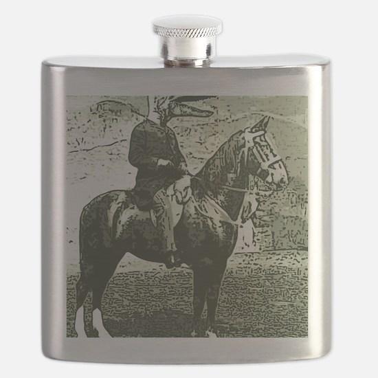 dinosaur man on horse Flask