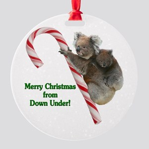 Australia Christmas Koalas on Candy Round Ornament