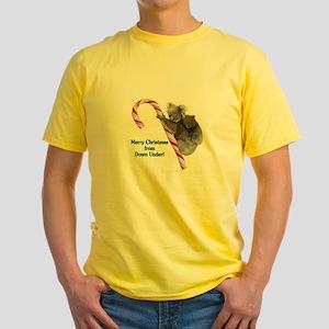 Australia Christmas Koalas on Candy Yellow T-Shirt