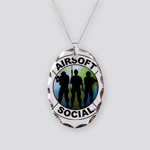 Airsoft Social logo Necklace Oval Charm