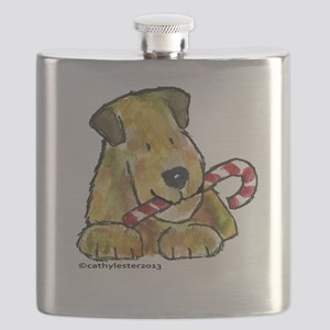 Wheaten terrier Candy Cane Flask