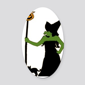 Witch Oval Car Magnet