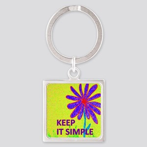 Wildflower Keep It Simple Square Keychain