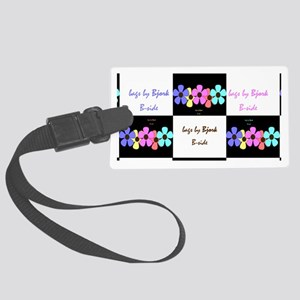 five flowers on black white clut Large Luggage Tag