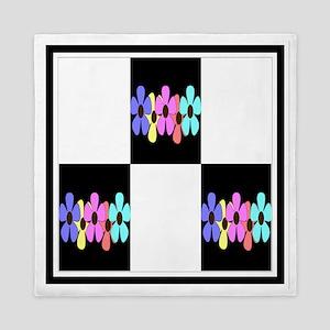 five flowers on black white 12x12 fram Queen Duvet