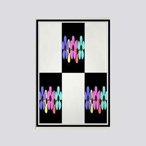 five flowers on black white A kin Rectangle Magnet