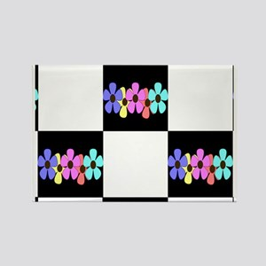 five flowers on black white messe Rectangle Magnet