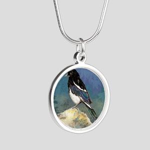 Watercolor Magpie Bird Art Silver Round Necklace
