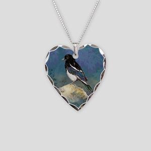 Watercolor Magpie Bird Art Necklace Heart Charm
