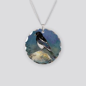 Watercolor Magpie Bird Art Necklace Circle Charm