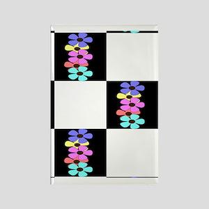 five flowers on black white greet Rectangle Magnet