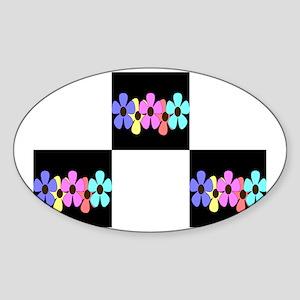 five flowers on black white post ca Sticker (Oval)