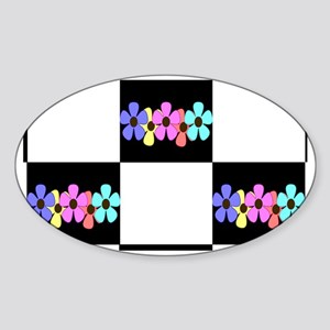 five flowers on black white toiletr Sticker (Oval)