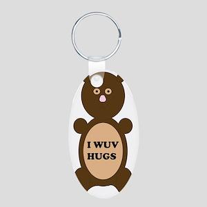 I WUV HUGS Aluminum Oval Keychain