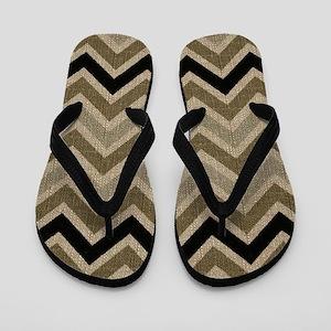 Burlap brown Zigzags Flip Flops