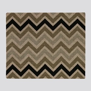 Burlap brown Zigzags Throw Blanket