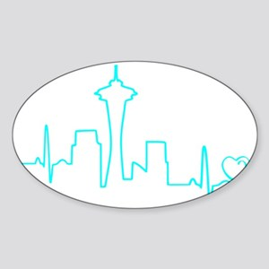 Seattle Heartbeat (Heart) AQUA Sticker (Oval)