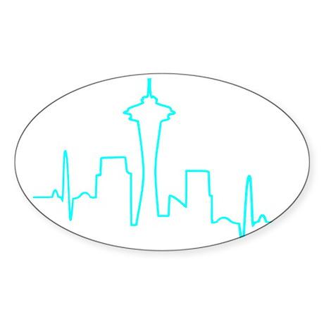 Seattle Heartbeat AQUA Sticker (Oval)