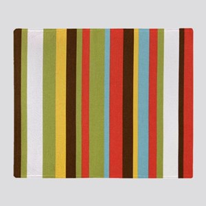 Bold retro colorful stripes Throw Blanket