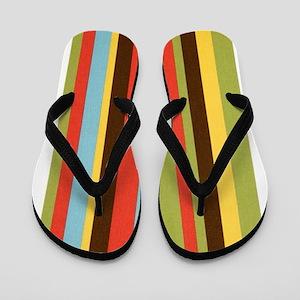 Bold retro colorful stripes Flip Flops
