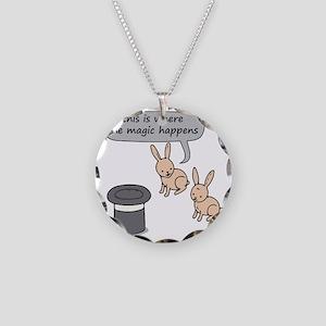 Rabbits and Magic Necklace Circle Charm