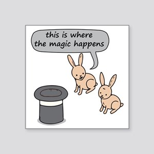 "Rabbits and Magic Square Sticker 3"" x 3"""