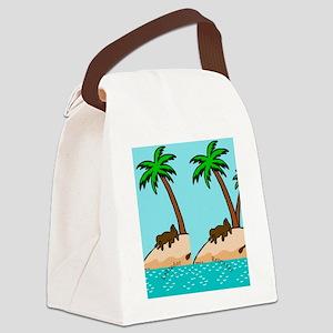 Chocolate Labrador Island Canvas Lunch Bag