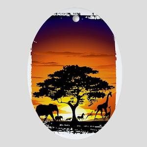 Wild Animals on African Savannah Sun Oval Ornament