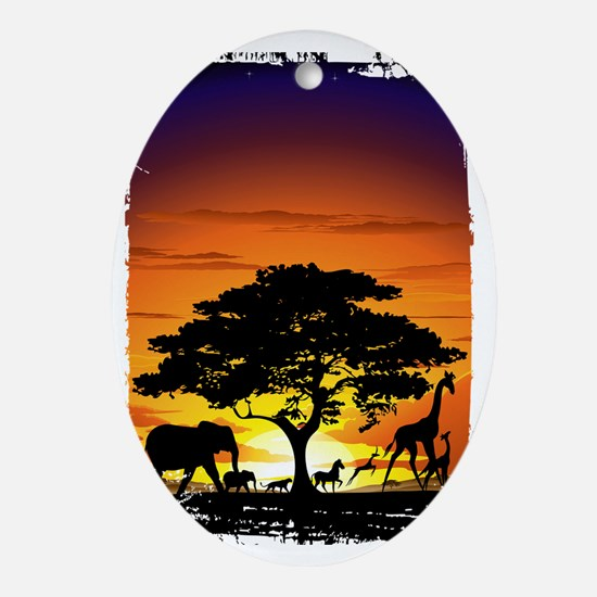 Wild Animals on African Savannah Sun Oval Ornament