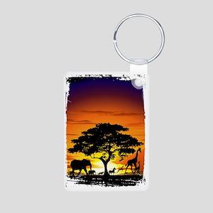 Wild Animals on African Sa Aluminum Photo Keychain