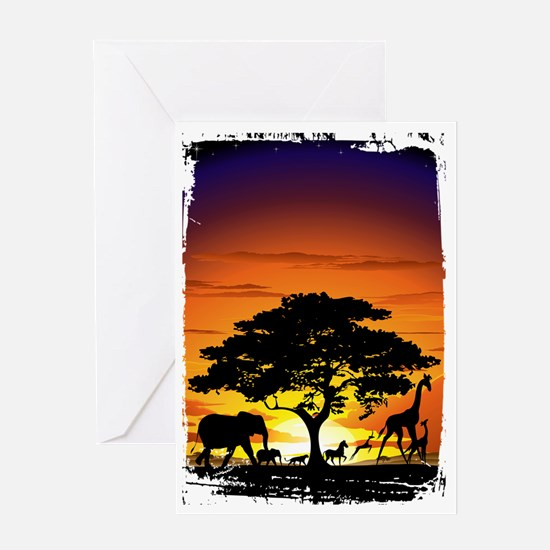 Wild Animals on African Savannah Sun Greeting Card