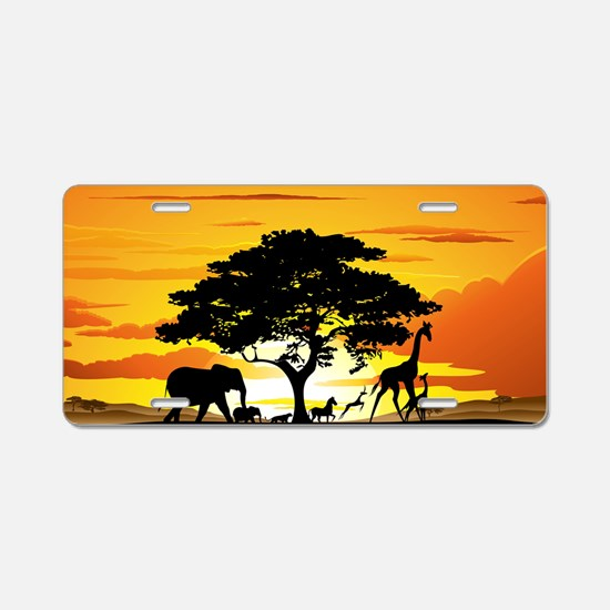 Wild Animals on African Sav Aluminum License Plate