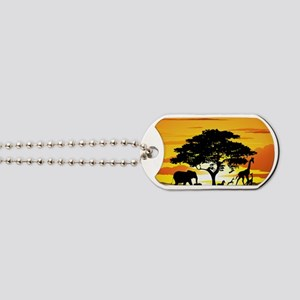 Wild Animals on African Savannah Sunset Dog Tags