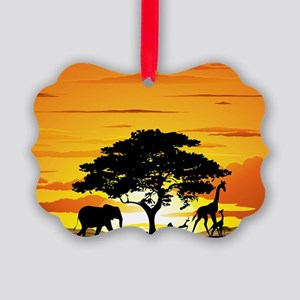 Wild Animals on African Savannah  Picture Ornament