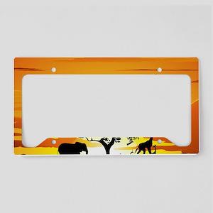 Wild Animals on African Savan License Plate Holder