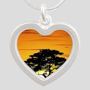 Wild Animals on African Sava Silver Heart Necklace