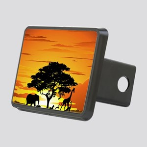 Wild Animals on African Sa Rectangular Hitch Cover