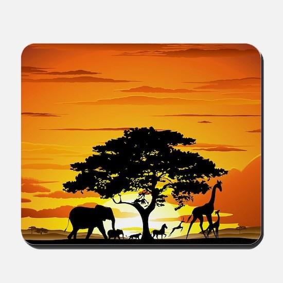 Wild Animals on African Savannah Sunset Mousepad