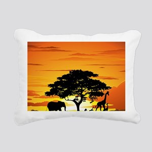 Wild Animals on African  Rectangular Canvas Pillow