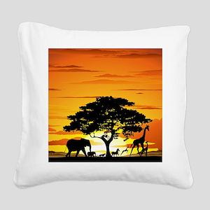Wild Animals on African Savan Square Canvas Pillow