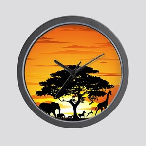 Wild Animals on African Savannah Sunset Wall Clock